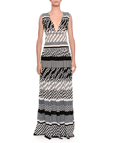 Striped Knit V-Neck Maxi Dress