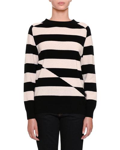 Broken-Stripe Cashmere Crewneck Sweater