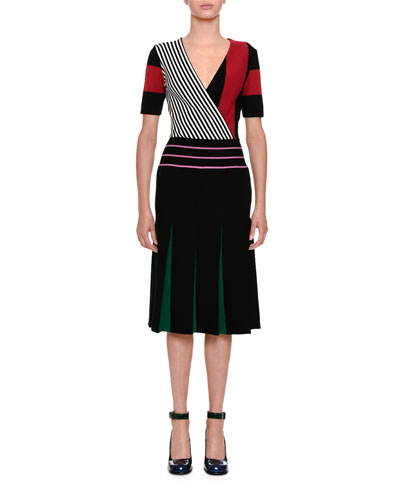 Short-Sleeve Block-Stripe Dress