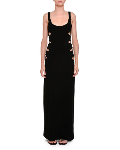 Scoop-Neck Maxi Dress w/Side Cutouts