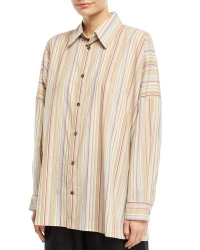 Wide Striped Cotton Shirt