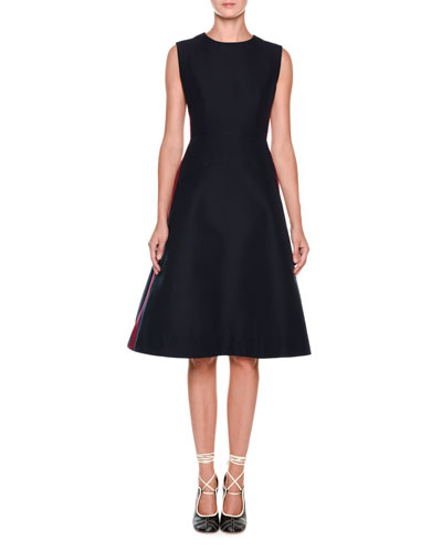 Sleeveless Side-Stripe Cady Dress