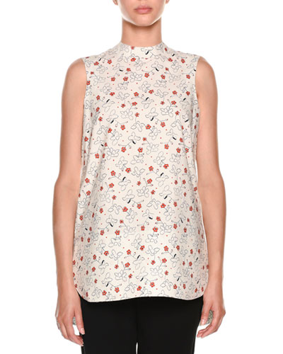 Floral-Print Mock-Neck Top