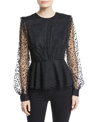 Long-Sleeve Dotted Tulle Peplum Blouse