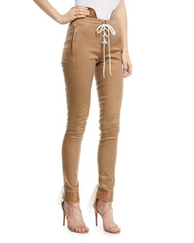Lace-Up Skinny Legging Pants