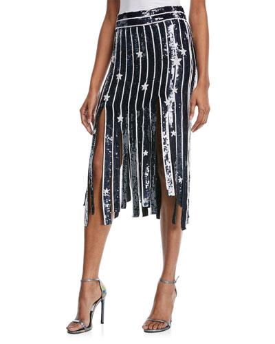 Sequined Star Fringe Midi Skirt