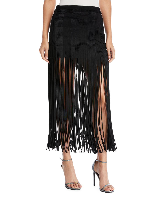 Spaghetti-Fringe Midi Skirt