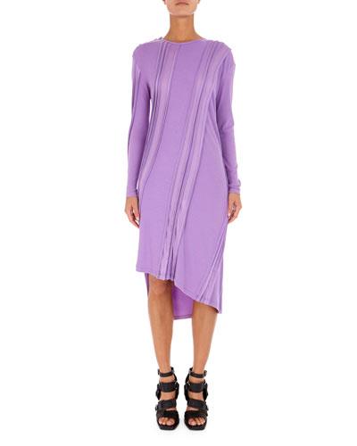 Asymmetric Long-Sleeve Ribbed Midi Dress