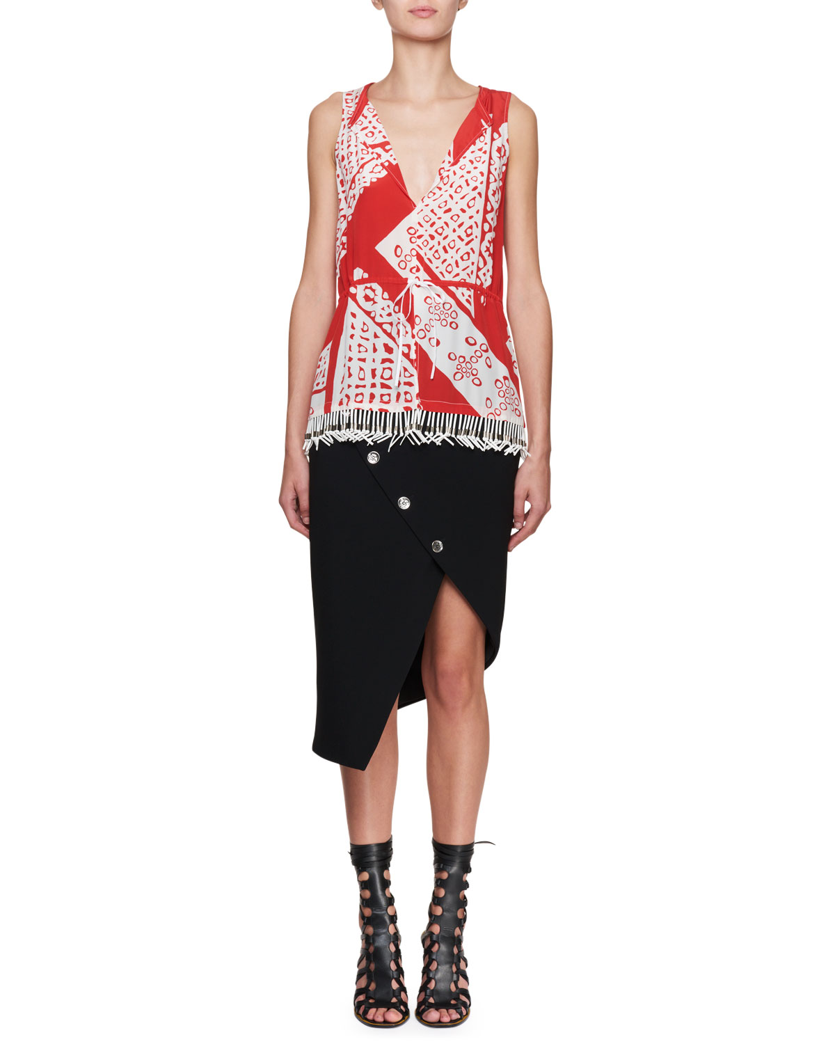 Sleeveless Bandana Fringe-Hem Silk Blouse