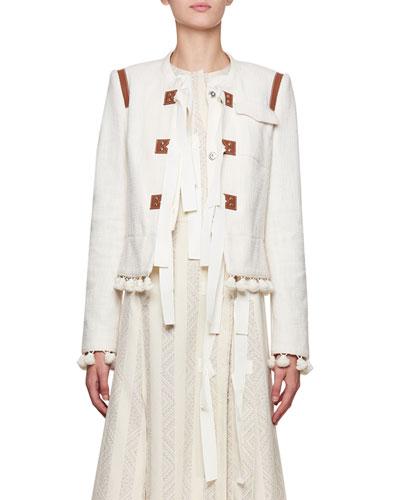 Avenue Jewel-Neck Tweed Cardigan Jacket with Pompom & Ribbon Trim