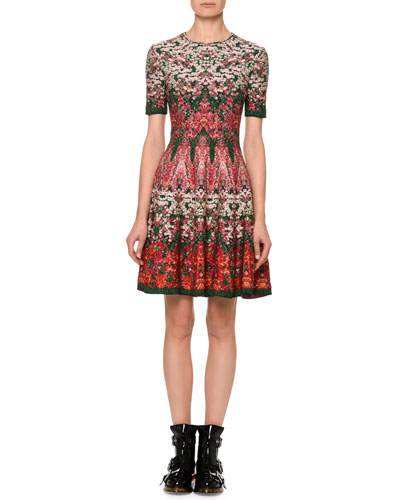 Short-Sleeve Floral Jacquard Dress