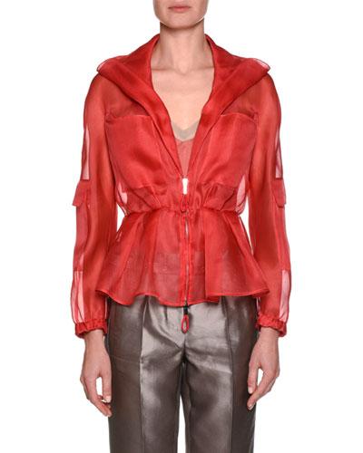 Silk Organza Zip-Front Jacket with Pockets