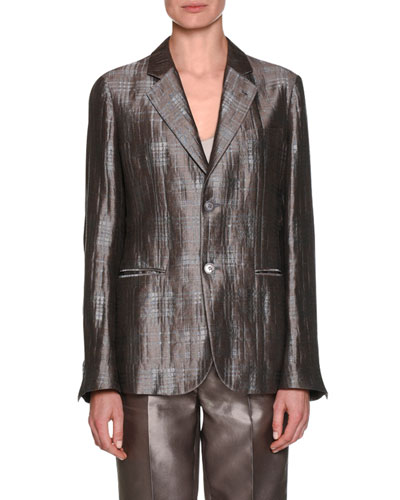 Notched-Collar 2-Button Windowpane Silk Jacket