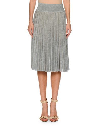 Pleated Metallic Knit Skirt
