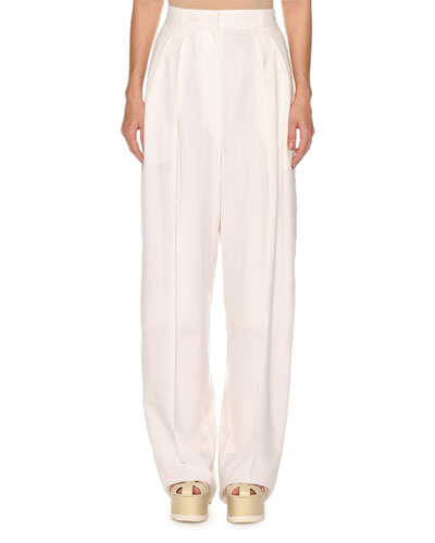 High-Waist Superfine Poplin Double-Pleated Pants