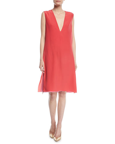 Sleeveless Deep-V Silk Crepe de Chine Double-Layer Dress