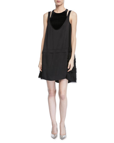 Sleeveless Hammered Satin Dress w/ Sheer Sides