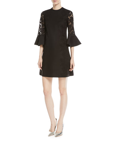 3/4 Bell-Sleeve Lace-Panel Dress