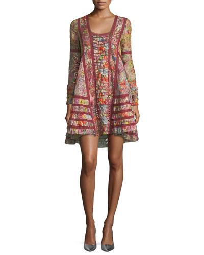 Long-Sleeve Floral Eyelet Lace A-Line Dress