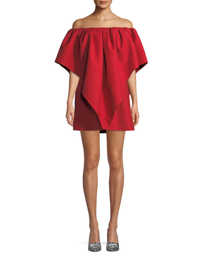 Pleated Off-Shoulder Cady Dress