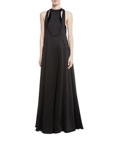 Sleeveless Cutout Hammered Satin Gown