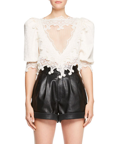 Saint Laurent  EMBROIDERED MESH CUTOUT CROP BLOUSE