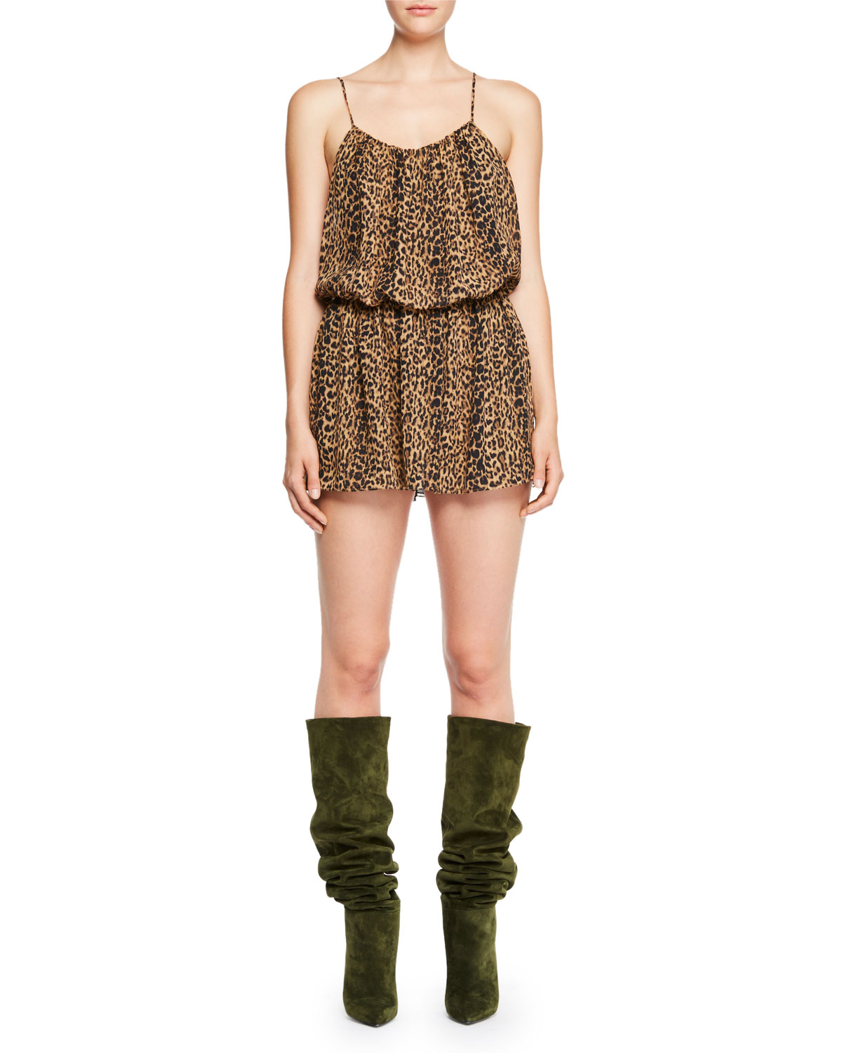 Leopard-Print Cami Mini Dress