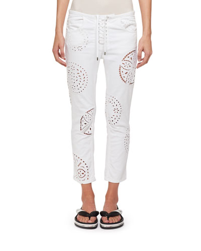 Ronny Straight-Leg Broderie Anglaise Cutout Cotton Skinny Jeans