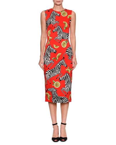Sleeveless Zebra-Print Silk Charmeuse Midi Dress