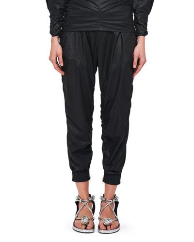 Coated Cotton Slim-Leg Pants