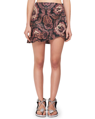 Paisley-Print Ruffle Cotton Mini Skirt
