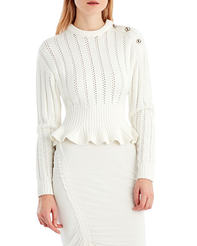 Crewneck Long-Sleeve Peplum Knit Sweater