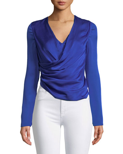 Long-Sleeve V-Neck Silk Satin Wrap Top