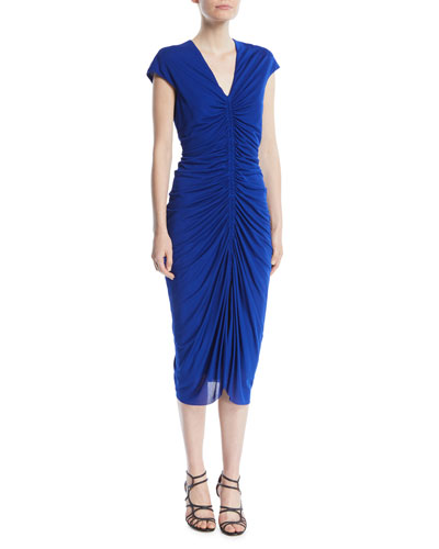 V-Neck Cap-Sleeve Ruched Jersey Dress