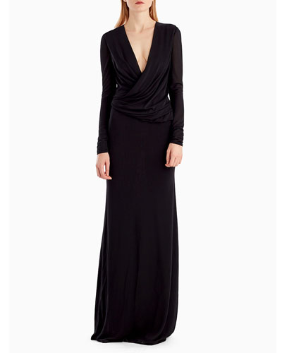Long-Sleeve Draped-Neckline Jersey Crepe Evening Gown