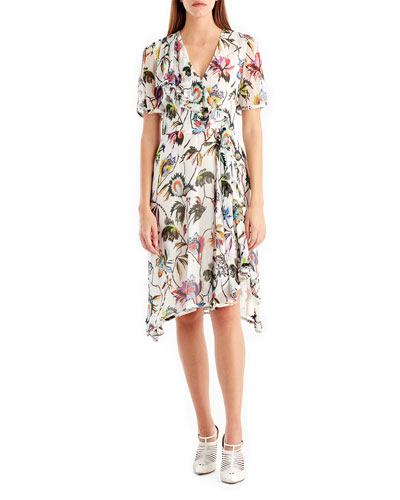 Short-Sleeve Floral-Print Chiffon Dress