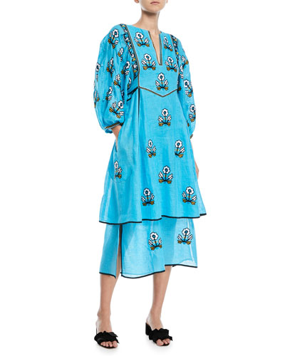 Sunflower-Embroidered Puff-Sleeve 2-Tier Linen Maxi Dress