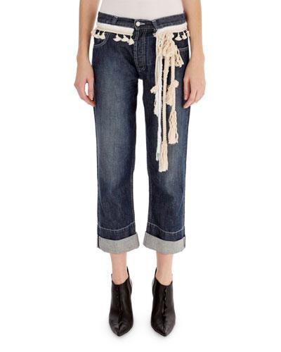 Rope-Trim Cuffed Denim Jeans