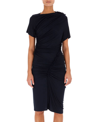 Ruched Jersey Short-Sleeve Dress