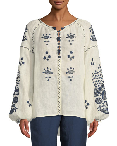 Puff-Sleeve V-Neck Embroidered Linen Peasant Blouse