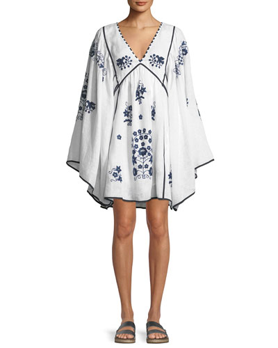 V-Neck Bell-Sleeve Embroidered Linen Mini Dress