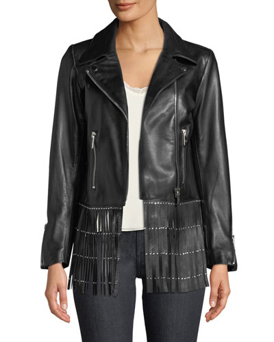 Zip-Front Studded Leather Jacket with Fringe Hem