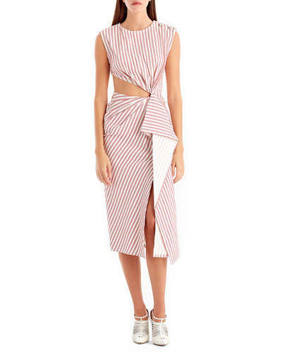 Sleeveless Striped Knot Cutout Dress