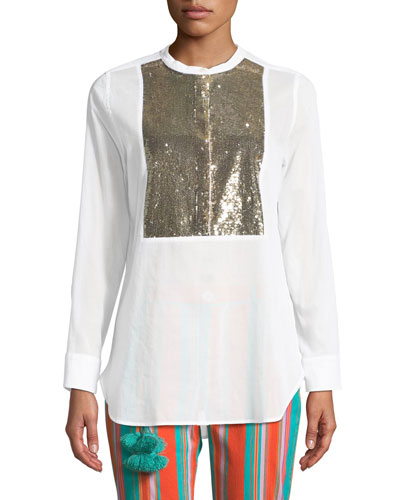 Manuela Beaded Tuxedo Shirt in White