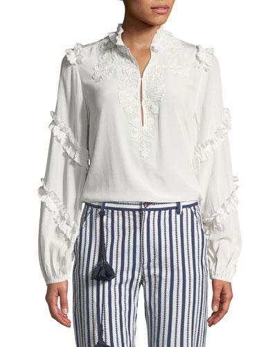 Amelia Long-Sleeve Ruffle Tonal Embroidered Tunic