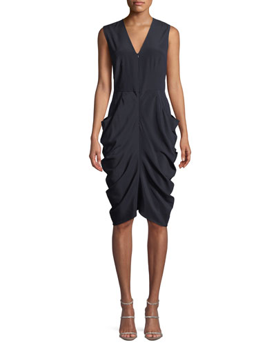 Eve Grace Sleeveless Draped Silk Dress
