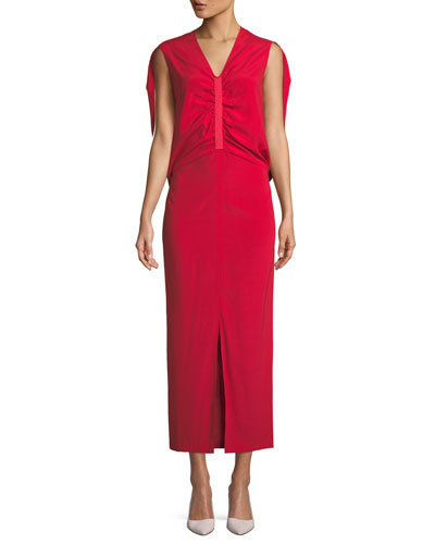 Ruched Butterfly Silk Dress