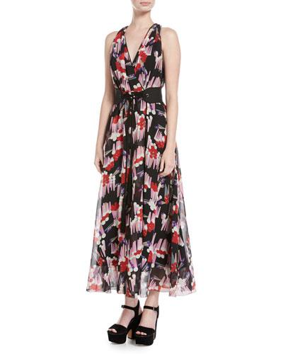 Geo-Spot Silk Georgette Midi Dress, Black Pattern