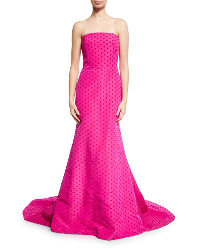 Dotted Strapless Evening Gown, Fuchsia