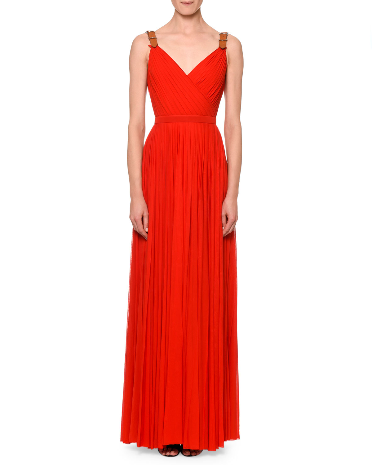 Pleated Maxi Gown w/Leather Belt Straps